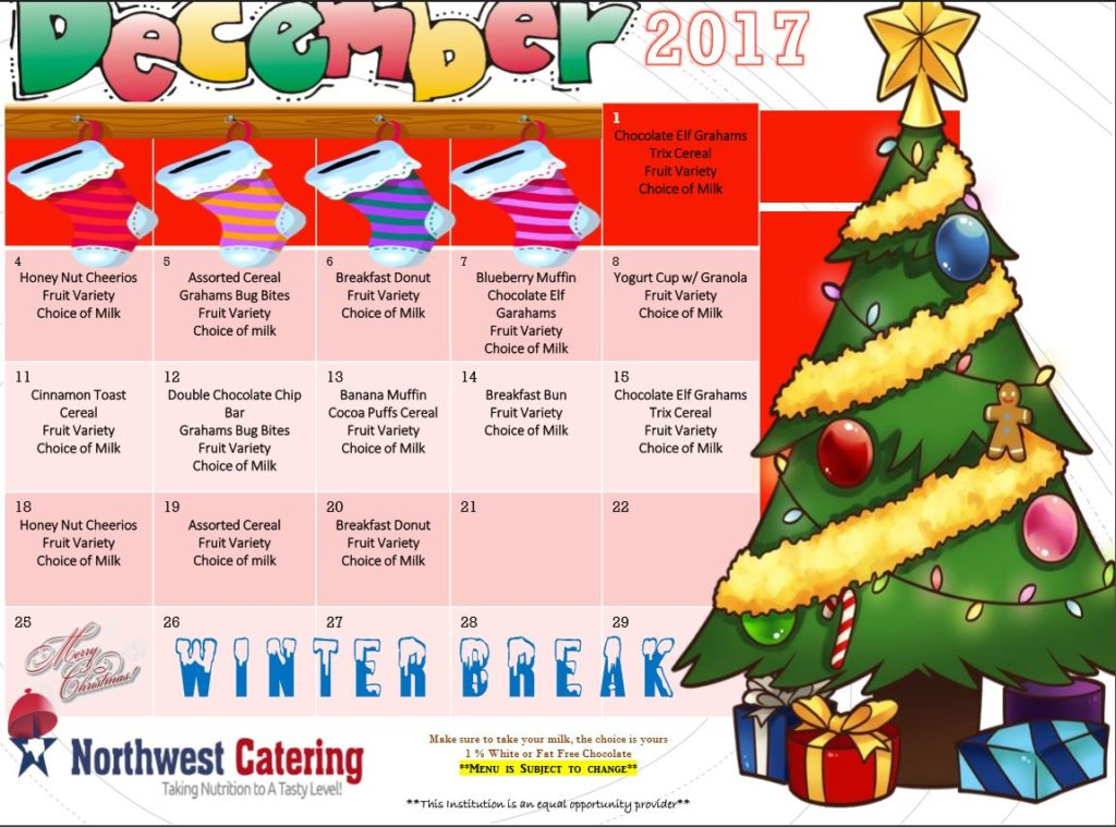 Breakfast and Lunch Menu for December – Harmony School of